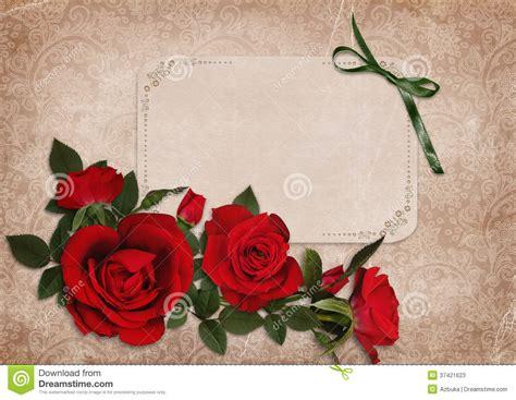 imagenes vintage rojas fondo lamentable del vintage con rosas rojas y una tarjeta