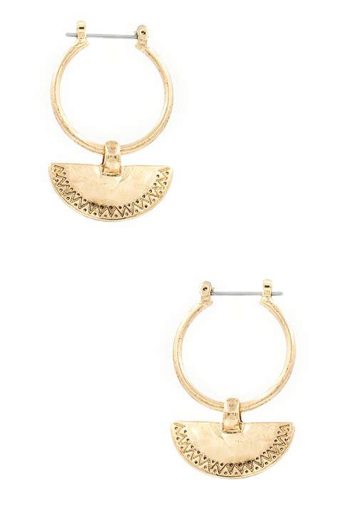 Metal Hoop Earrings metal crescent hoop earrings