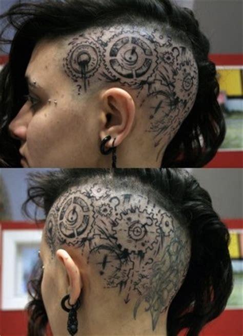 undercut head tattoo steunk tattoo on head design of tattoosdesign of tattoos