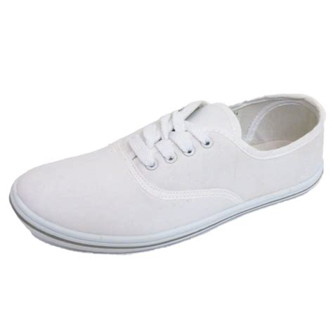 white flat shoes for womens flat white lace up canvas trainer plimsoll