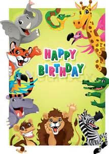 happy birthday card with jungle animals cartoon vector