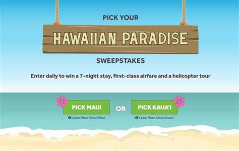 Sweepstakes Hawaii - vistana com pick your hawaiian paradise sweepstakes sweepstakes pit