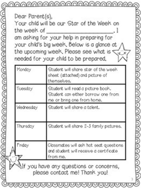 Parent Letter Of The Week Of The Week With Editable Parent Letter By Third In