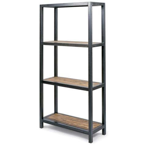 finch industrial loft ironwood reclaimed rustic bookcase