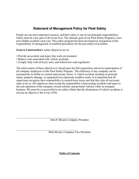 Sle Fleet Safety Program Fleet Management Contract Template
