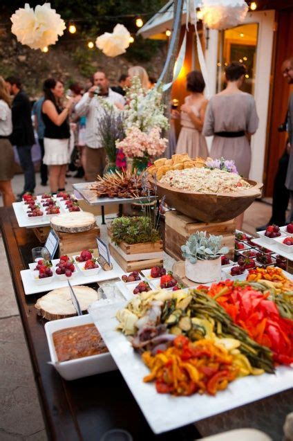 different levels on the buffet style table wedding