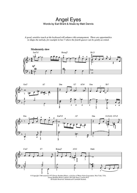 theme song in angel eyes angel eyes sheet music music for piano and more