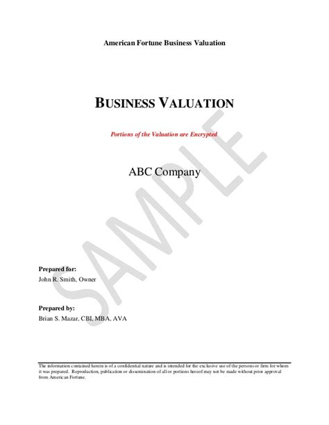 sle business valuation report valuation report sle