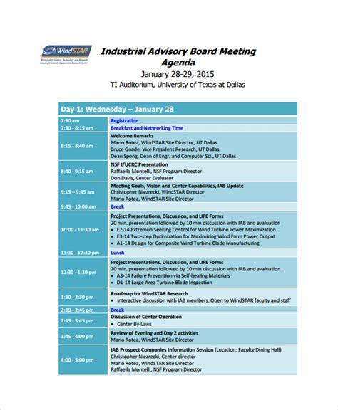 8 Sle Board Meeting Agenda Templates Sle Templates Advisory Board Meeting Minutes Template