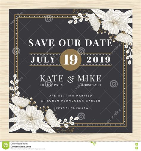 save the date card with illustration