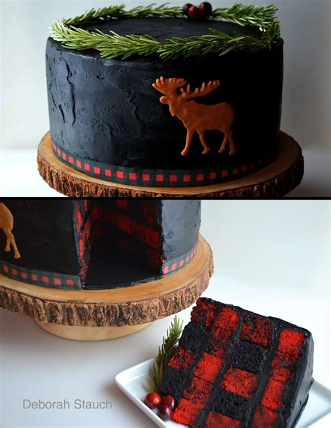 Once upon a pedestal surprise inside buffalo lumberjack plaid cake