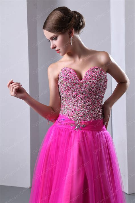 fuchsia color dress cheap sweetheart beaded fuchsia evening dress
