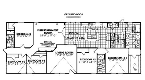 5 bedroom mobile home floor plans 5 bedroom mobile homes floor plans photos and video wylielauderhouse com