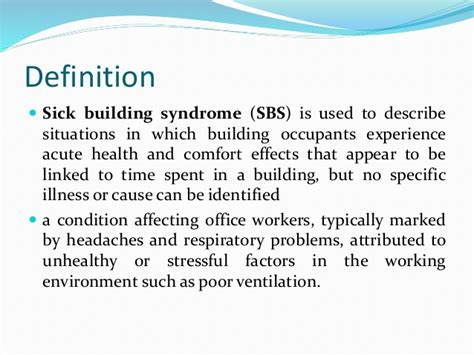 office definition sick building syndrome occupational health