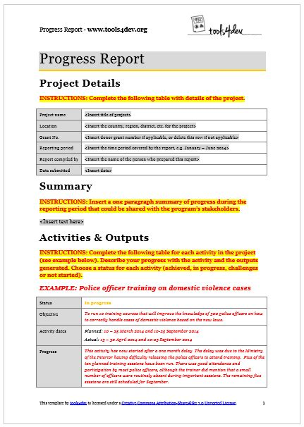 progress report template tools4dev