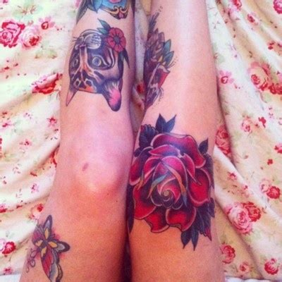 ugly rose tattoo knee tattoos amazing