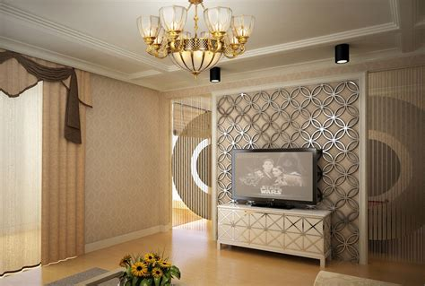 3d tv wall interior design rendering
