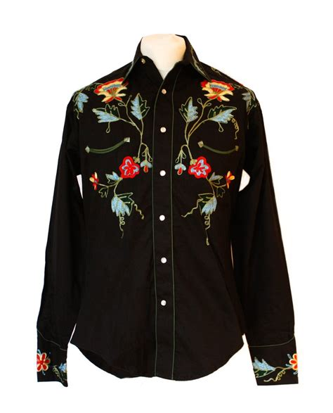 Wst 19210 Flower Embroidered Blouse rockmount black floral embroidered western cowboy shirt
