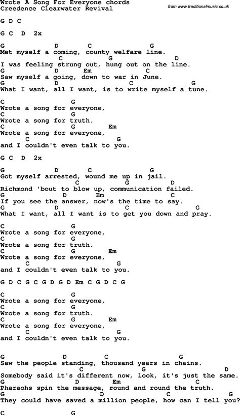 song for song lyrics with guitar chords for wrote a song for everyone