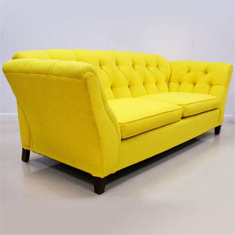 1960s 70s Bright Yellow Button Tufted Sofa The Modern Yellow Tufted Sofa
