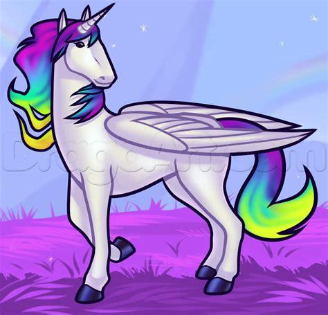 Drawing Unicorns by How To Draw A Rainbow Unicorn Step By Step Unicorns