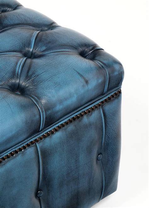 Blue Leather Storage Ottoman Crboger Blue Leather Ottoman Bright Blue Leather