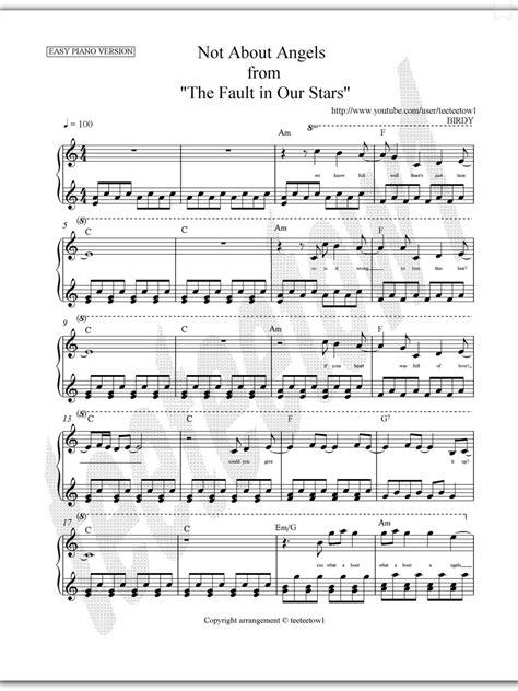 Piano Sheet Music — Not About Angels ~ Birdy (Piano Sheet