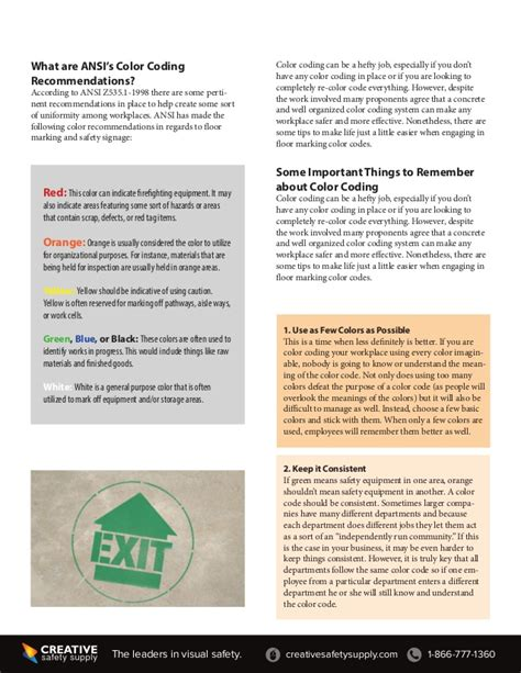osha color codes color coding for osha and ansi floor marking and floor