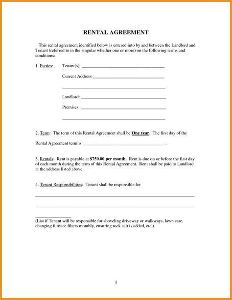 rental agreement forms generic resume