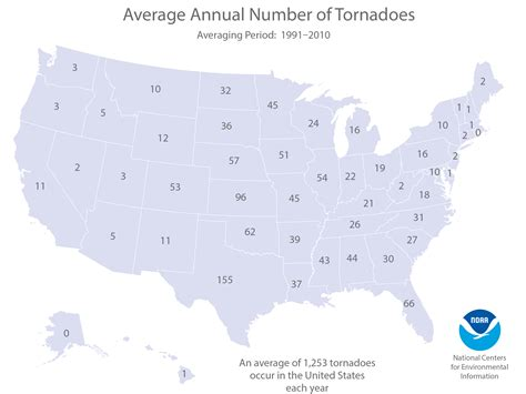 united states map with numbers u s tornado climatology national centers for