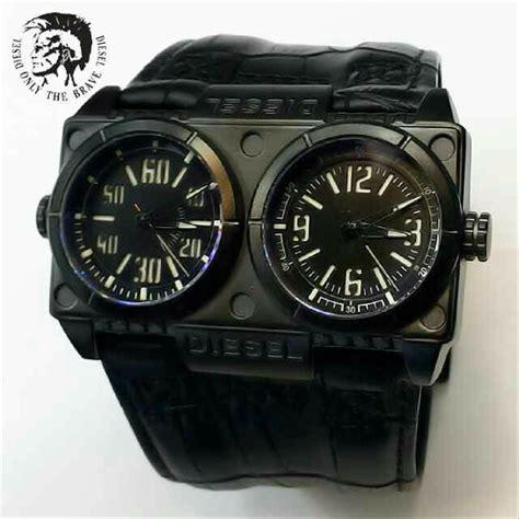jual jam tangan pria diesel jumbo leather dual time black
