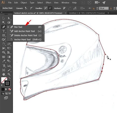 illustrator tutorial motorcycle draw realistic motorbike helmet with photoshop and