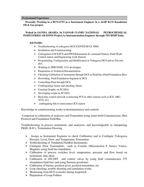 experienced instrumentation engineer resume format instrumentation engineer