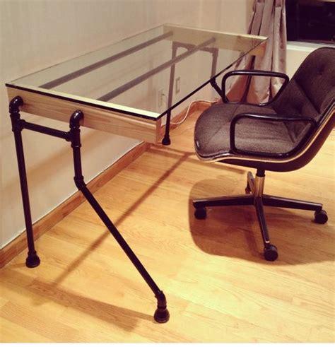 glass pipe bent leg desk home pinterest industrial