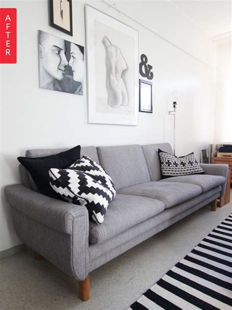 apartment therapy sofa before after a screaming plaid sofa gets a makeunder