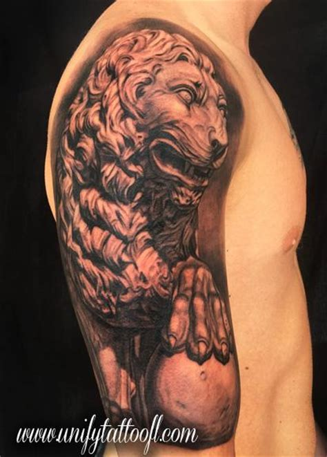 lion statue tattoo unify company tattoos page 7