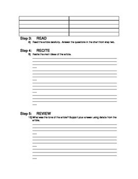 sq3r template sq3r worksheet for reading newspaper articles by mrs h g tpt