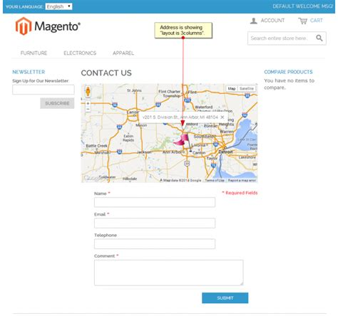 magento contact us map default contact us page with map magento connect