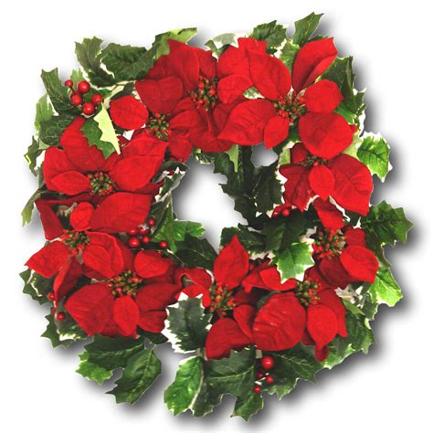 christmas wreath poinsettia flowers variegated holly