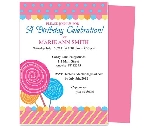 Kids Birthday Party Invitations Templates Free Printable 2