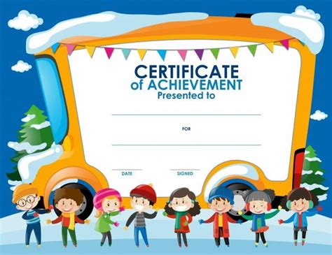 templates for children s certificates certificate template with children in winter free vector