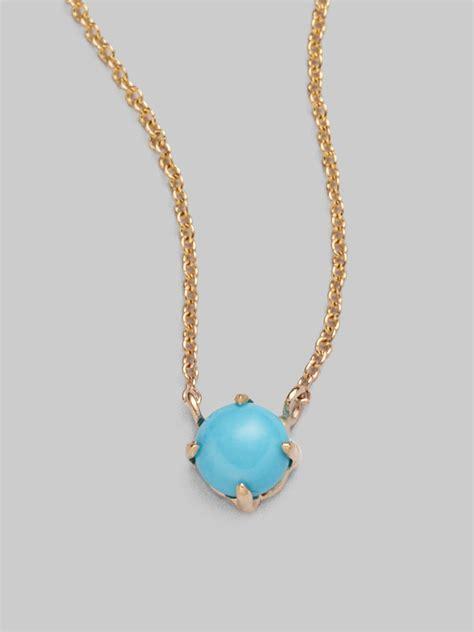 mizuki sleeping turquoise 14k gold cable chain