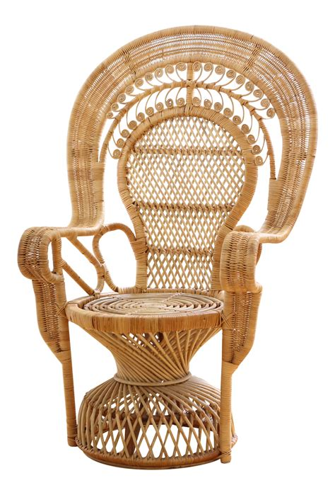 peacock armchair vintage rattan and wicker peacock chair chairish