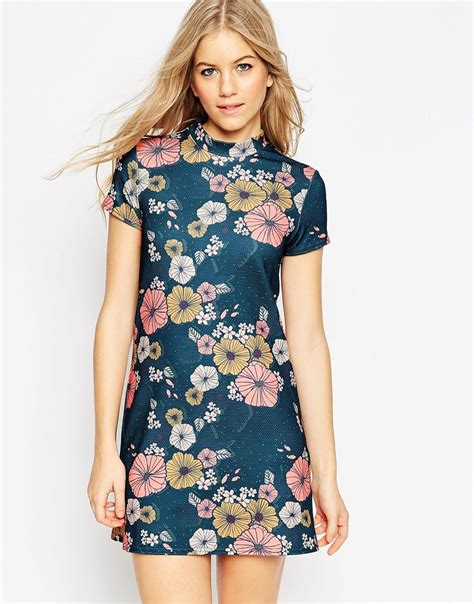 A Printed Neck Dress From Asos by Asos High Neck Mini Dress In Textured Floral Print In Blue
