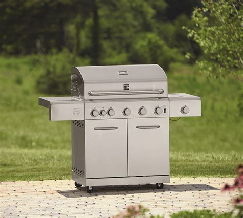 kenmore 5 burner gas grill with ceramic searing and rotisserie burners outdoor kenmore s3218ns 5 burner stainless steel gas grill with ceramic searing and