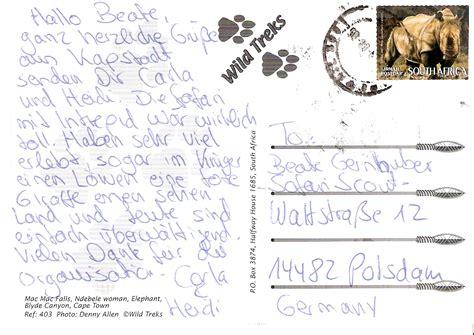 Postkarten Schreiben Muster Die Kunden Safariscout Bis 2012 Berichte Feedback Meinungen