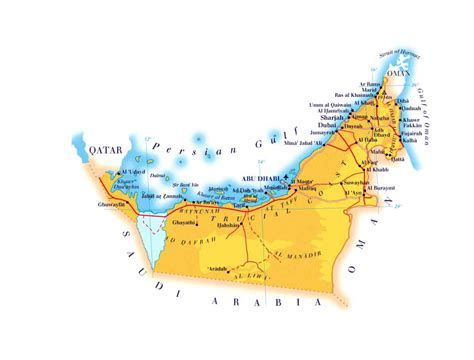 uae map with distance elevation map of uae with roads cities and airports