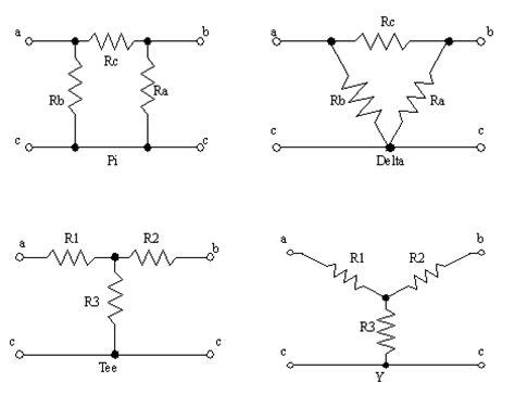 resistor y dan delta we can find equivalent resistors considering that