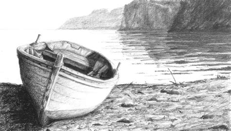 boat with drawing boat on a shore graphit pencil drawing class the artist