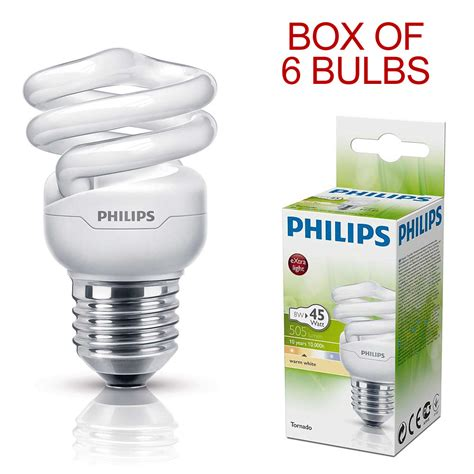 Lu Philips Tornado 45 Watt philips tornado 8w 45w ses e14 spiral energy saving fluorescent light bulb n ebay